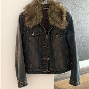 Fur collar jean jacket for sale